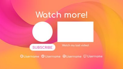 Youtube End Card Template with Curved Lines 1432b