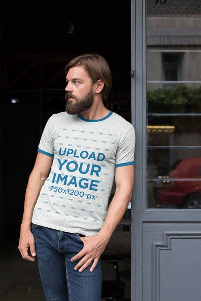 Ringer T-Shirt Mockup of a Hipster Man with His Hand in His Pocket 27916