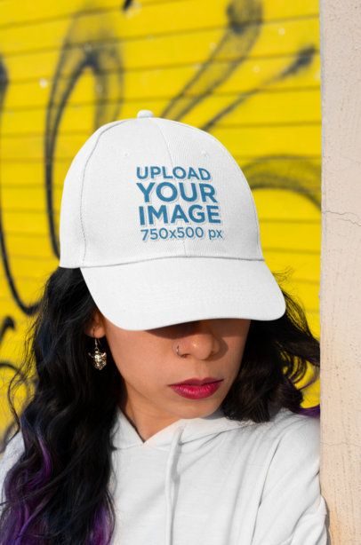 Dad Hat Mockup of a Woman Hiding Her Eyes 27109