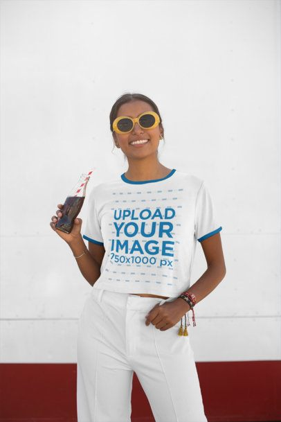 Crop Top Ringer Shirt Mockup Featuring a Trendy Woman Drinking a Soda 27274