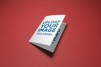 Mockup of a Bi-Fold A5 Brochure on a Plain Color Background 30-el