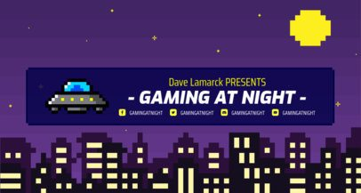 Retro Twitch Banner Maker with a Night City Skyline 1452b