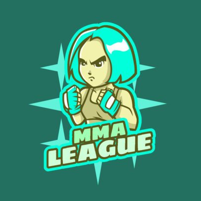 Gaming Logo Maker with a Female MMA-Fighter Clipart 1872d