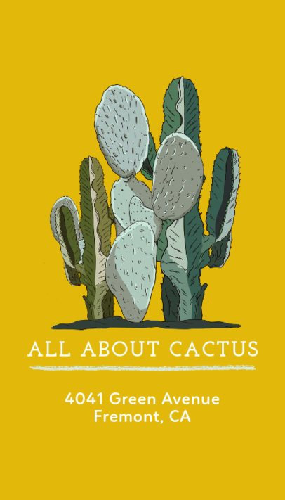 Business Card Maker with Cactus Graphics in Vertical Format  568a