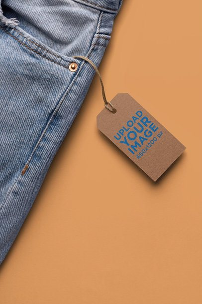 Brand Tag Mockup on Denim Jeans Against a Flat Surface 27652