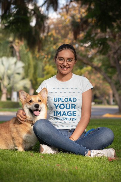 T-Shirt Mockup of a Woman with a Smiling Dog Next to Her 28036