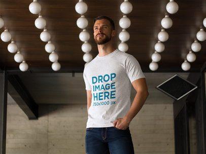 T-Shirt Mockup of a Man at a Modern Restaurant a8581