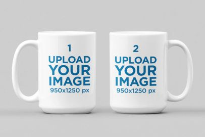 Mockup of Two 15 oz Coffee Mugs Placed Side by Side 28257
