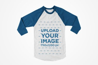Long Sleeve Raglan Tee Mockup with a Single Color Background 123-el