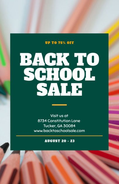 Flyer Template for a Back-To-School Sale with a Colorful Background 238f