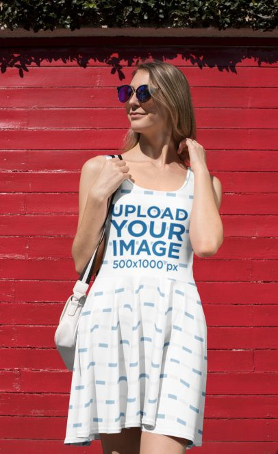 Mockup of a Cool Woman Under the Sun Wearing a Skater Dress 27990