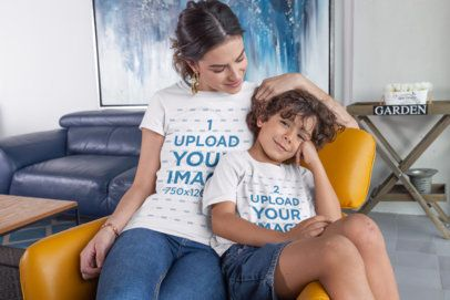 Mockup of Mother and Son Wearing T-Shirts at Home 28064