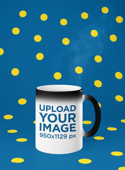 Mockup of a Magic Mug with Dots in the Background 28179
