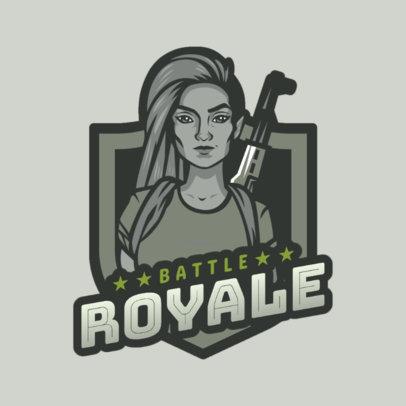 Battle Royale Game Logo Maker of a Fierce Woman 1847h