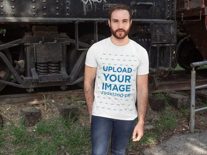 Shirt Mockup of a Man Posing in Front of a Train Wagon 28190