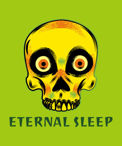 Halloween T-Shirt Design Maker Featuring a Spooky Skull 1567e