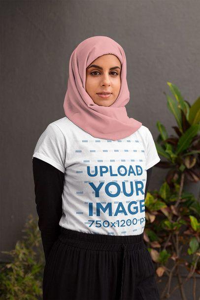 T-Shirt Mockup of a Serious-Looking Woman Wearing a Hijab 28273