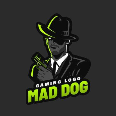 Gaming Logo Maker Featuring a Mafia Gangster Holding a Gun 1847j 2290
