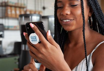 Phone Grip Mockup of a Woman with Locs Checking Her Phone 28165