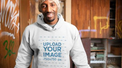 Pullover Hoodie Video of a Man in a Room With Graffitied Walls 13127