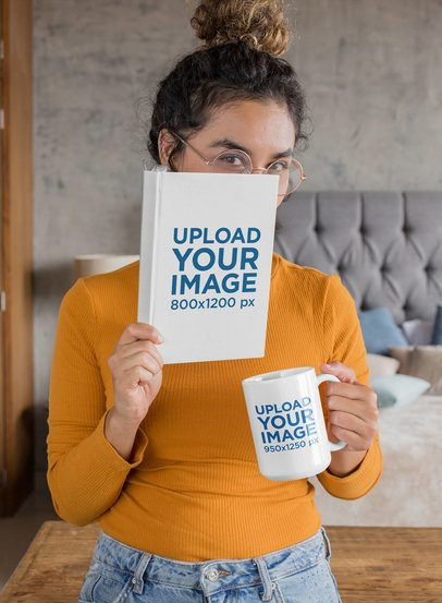 Mockup of a Woman Covering her Face with a Book While Holding a Coffee Mug 28474
