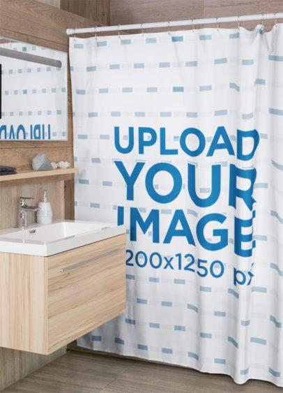 Mockup of a Shower Curtain in a Modern Bathroom 28537