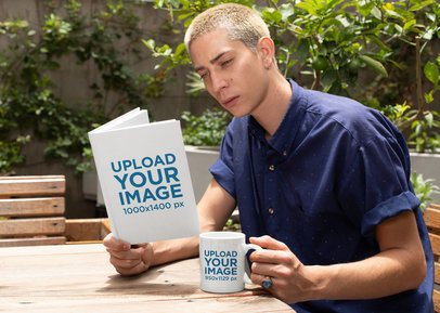 Mockup of a Man Reading a Book and Holding an 11 oz Coffee Mug Outside 28461