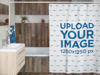 Mockup Featuring a Shower Curtain Hanging by a Bathtub 28542