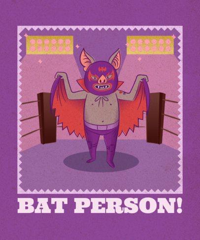 T-Shirt Design Creator Featuring a Wrestler Bat 1635h
