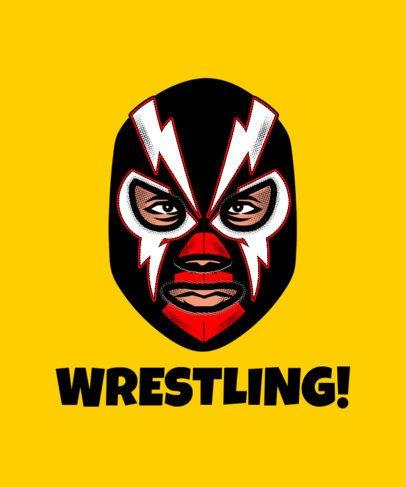 T-Shirt Design Maker Featuring a Wrestler's Face in a  Lightning Mask 1640h