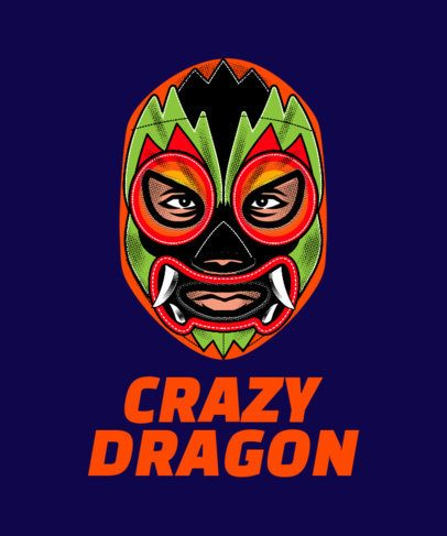 T-Shirt Design Template Featuring a Wrestler in a Dragon-Design Mask 1640l