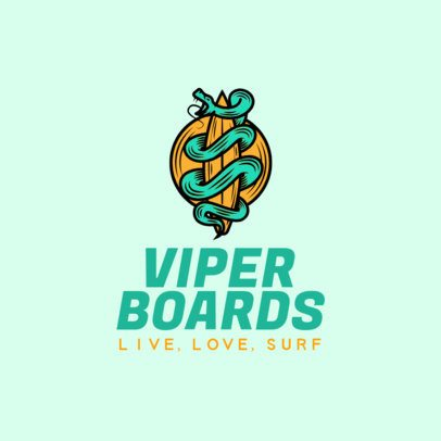 Surfing Logo Maker Featuring a Snake Tangled on a Surfboard 2376j 2367