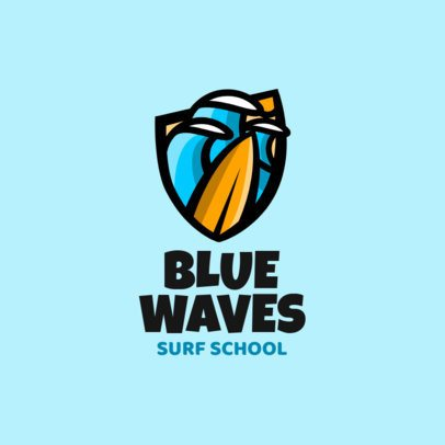 Surfing Logo Template Featuring Green Waves Clipart 2376k 2367
