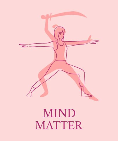 Illustrated Yoga T-Shirt Design Maker Featuring a Woman Doing Warrior Pose 1663c