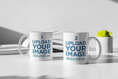 Minimal Mockup Featuring Two 11 oz Coffee Mugs Standing on a White Table 397-el