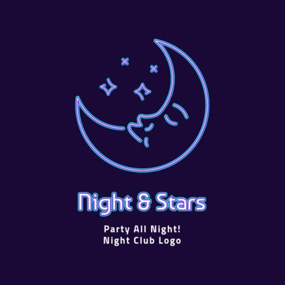 Nightclub Logo Maker with a Neon Moon Graphic 2414a