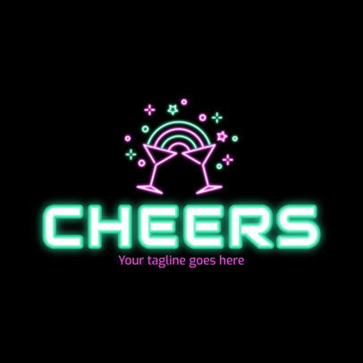 Nightclub Logo Maker Featuring Neon Cocktail Glasses Clinking 2413f