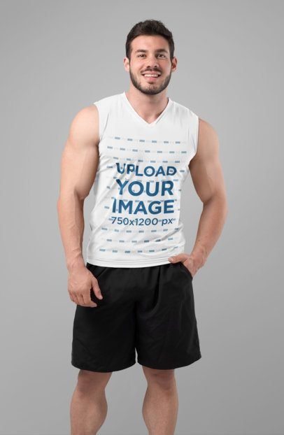 Tank Top Mockup of a Smiling Man with Shorts 28510