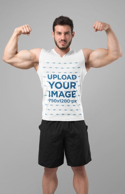 Mockup of a Man in a Tank Top Showing off His Muscles 28512