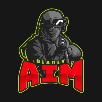 Gaming Logo Maker Featuring a Deadly Sniper Character Illustration 2449o
