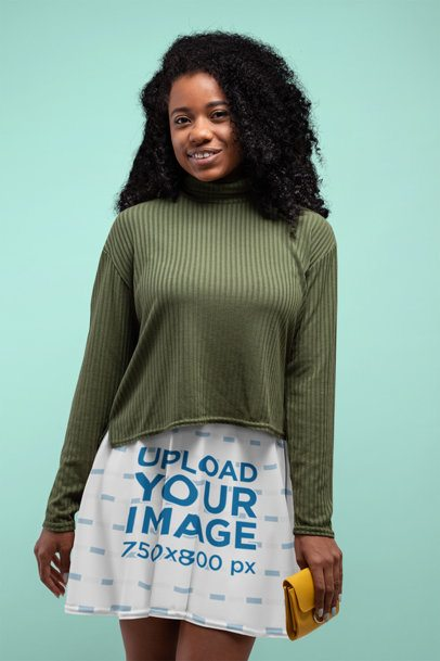 Skater Skirt Mockup of a Woman with Curly Hair 28649