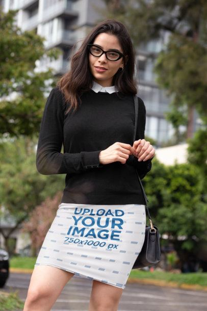 Pencil Skirt Mockup Featuring a Woman with a Corporate Look 28660