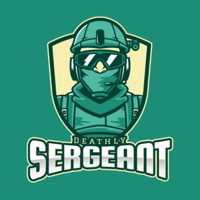 Shooting Gaming Team Logo Maker with a Geared Soldier's Face Illustration 2449z