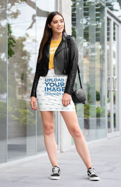 Pencil Skirt Mockup Featuring a Woman Posing in Front of a Glass Building 28680