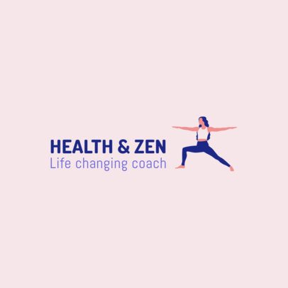 Logo Design Template with a Yoga Pose Graphic 2456a