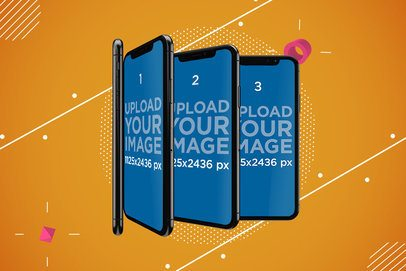 Mockup of Several iPhone XS Standing Like a Domino Line 533-el