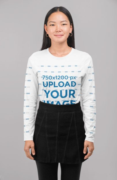 Long Sleeve Tee Mockup of a Woman Standing at a Studio 29074