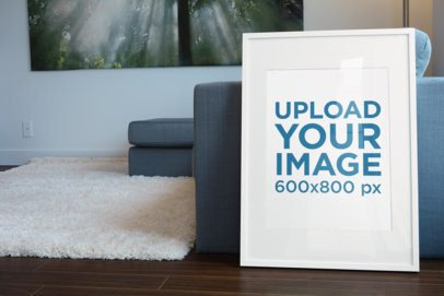 Mockup of a Poster Frame Leaning Against a Modern Couch 608-el