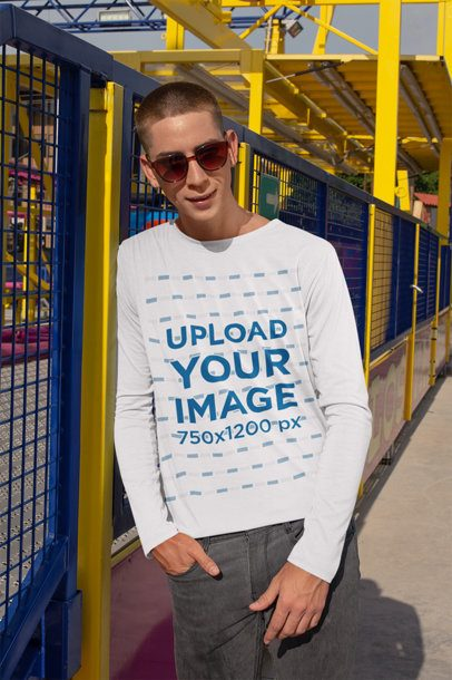 Long Sleeve T-Shirt Mockup of a Man with Sunglasses 29047