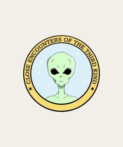T-Shirt Design Template with Alien Illustrations 1717d
